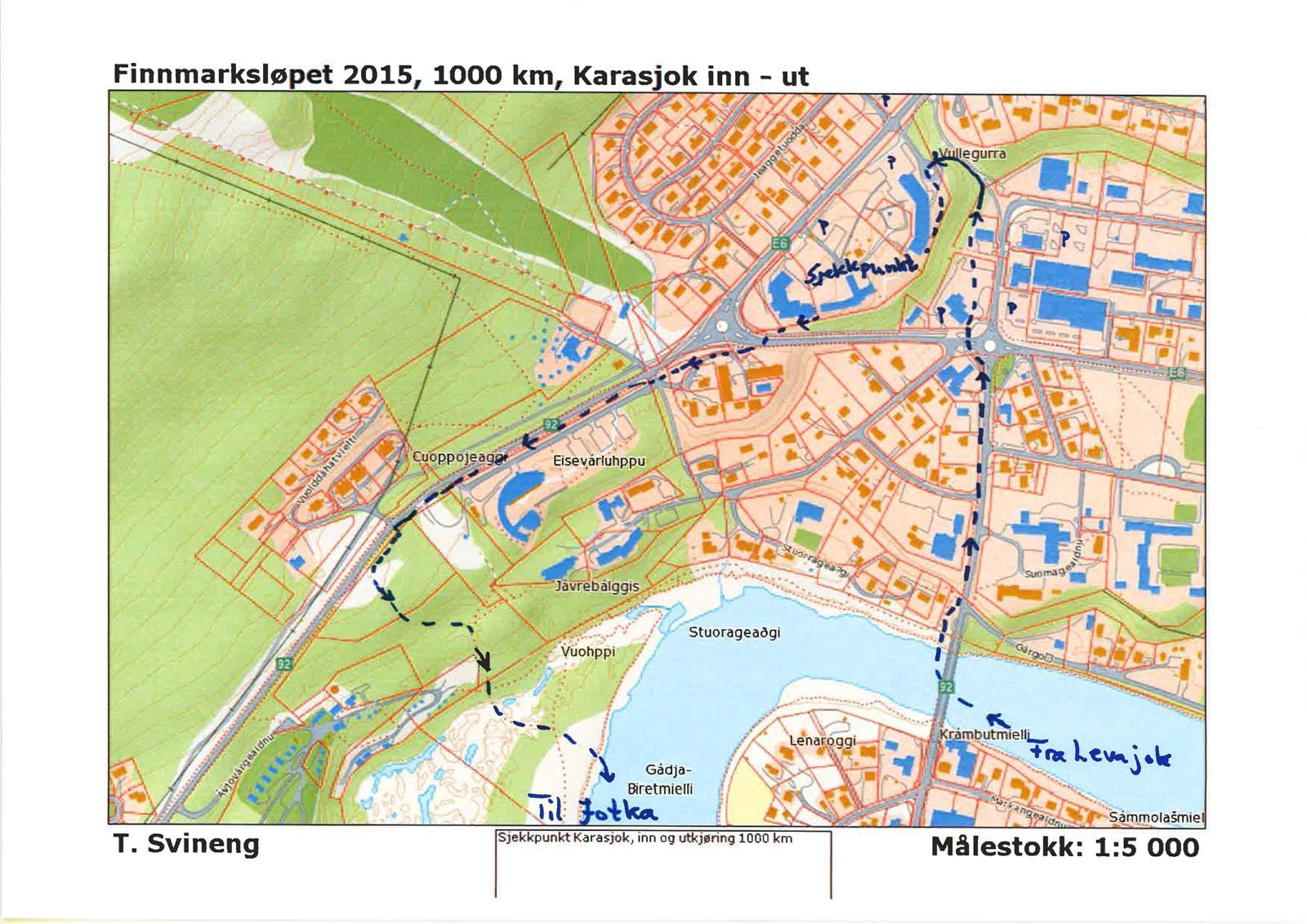 kart over karasjok Finnmarksløpet: FL 1000: Trail changes in Karasjok kart over karasjok